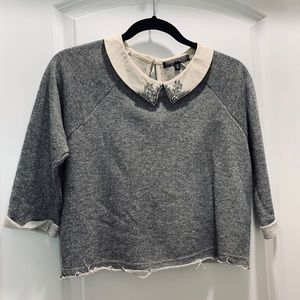 Nordstrom Crystal Collared Semi Casual Top